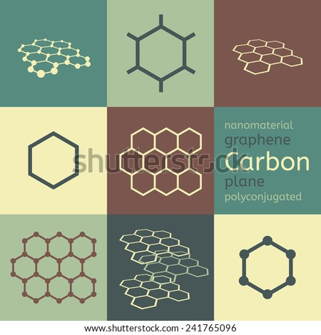 Vector carbon graphene nanomaterial chemical structure eight icon set  - stock vector