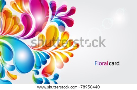 Vector card. Abstract background with bright teardrop-shaped arches. - stock vector