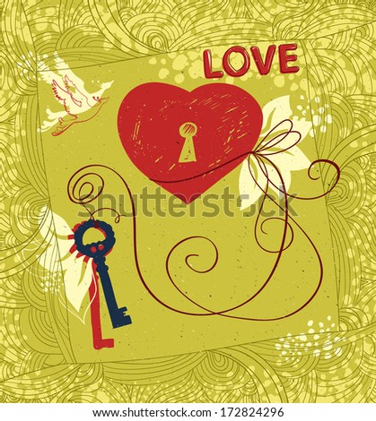 Vector card.  Contemporary handcrafted technique. Theme of love and Valentine's day.  - stock vector