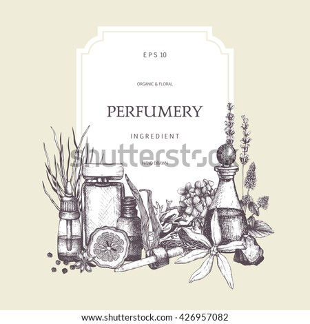 Vector card design with hand drawn perfumery and cosmetics ingredients sketch. Vintage frame with aromatic plants illustration - stock vector