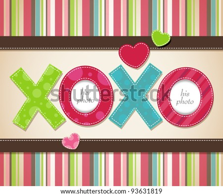 Vector card design with two hearts pierced with an arrow