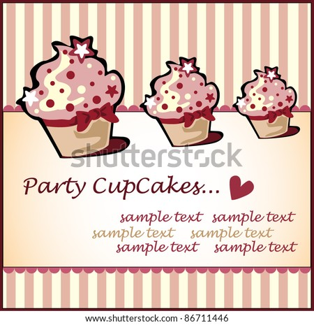 Vector card. Illustration of cute retro cupcakes - stock vector