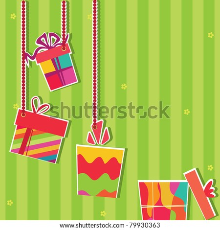 Vector card. Illustration of gift boxes. Greeting card - stock vector