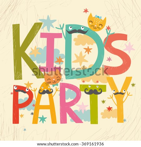 vector card kids party.lettering with cute cats - stock vector