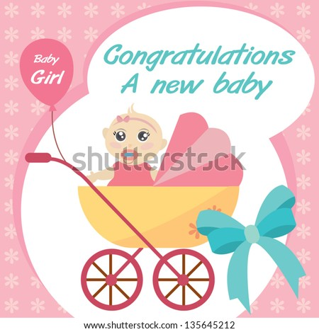 vector card new born baby girl - stock vector