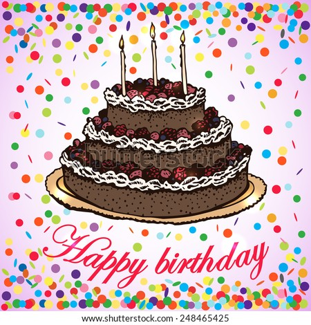 Vector Card Birthday Cake Handdrawing Vector Stock Vector HD
