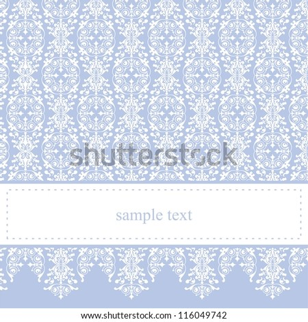 Vector card or invitation - classic and elegant with sweet blue background and white ornament lace. For party, birthday, baby shower or wedding. White space to put your own text message. - stock vector