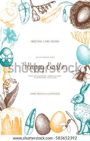 Vector card or invitation design with cute hand drawn illustrations for easter design. Happy Easter Day vintage template.