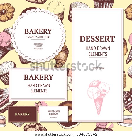Vector card or invitation design with hand drawn dessert illustration. Vintage collection of graphic dessert sketch - stock vector