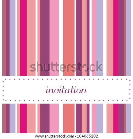 Vector card or invitation for party or wedding. Cute background with sweet, violet, pink and blue strips and white place to put your own text message - stock vector