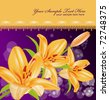 vector card: orange lilies on sparkling blur background - stock vector