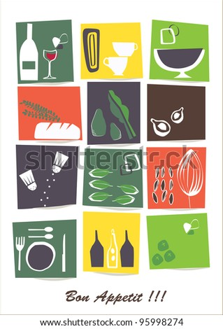 vector - card restaurant with retro graphic elements - stock vector
