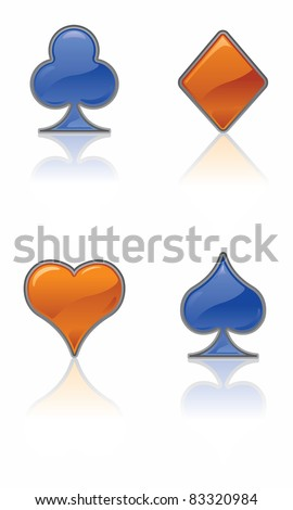 Vector Card Suit Icons (Blue and Orange).