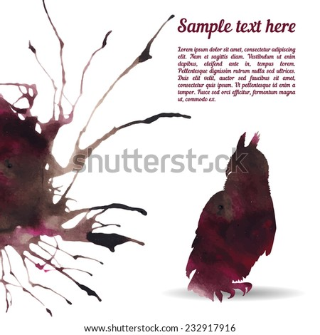 Vector card template with watercolor elements. Beautiful colorful ink stain and owl silhouette with your personalized text. - stock vector