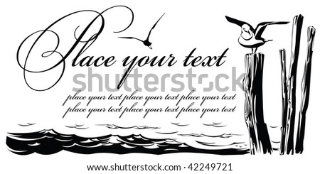 Vector card: the Seagull sitting on columns at river coast - stock vector