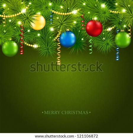 Vector card with a beautiful Christmas tree - stock vector