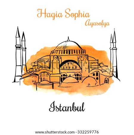 Vector card with a silhouette of the Higia Sophia in Istanbul. Hand drawn illustration of famous turkish landmark. Black outlines and bright orange watercolor texture. - stock vector