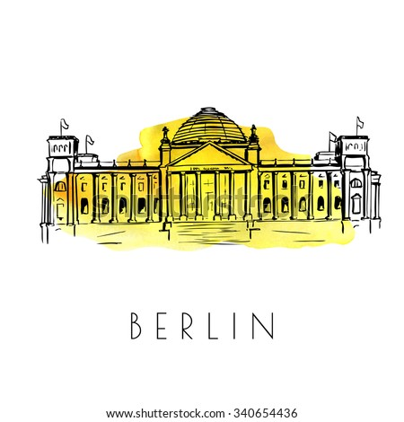 Vector card with a sketch of the Reichstag building. Hand drawn illustration of famous german landmark. Black outlines and bright yellow watercolor stain on background.