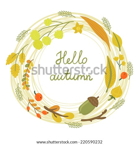 Hello Autumn Drawing Vector Card With Autumn Wreath