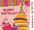 Vector card with birthday cake - stock photo