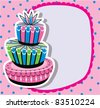 vector card with birthday cake and copy-space - stock vector