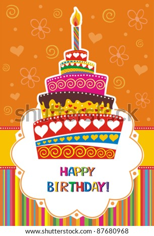 Vector card with birthday cake. Vector Illustration - stock vector