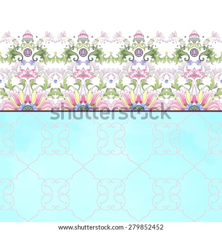 Vector card with borders. Beautiful lotus flowers and blue watercolor background. Hand drawing. Imitation of chinese porcelain painting. Place for your text. - stock vector