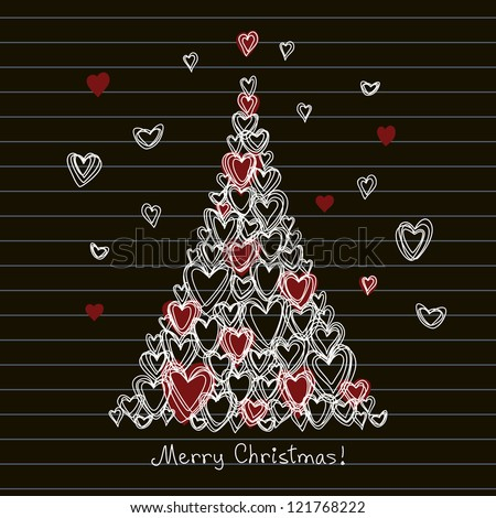 Vector card with christmas tree made from hearts of doodles. Festive childish hand drawn background on blackboard with greeting lettering. Abstract illustration for invitation in pencil sketch style - stock vector
