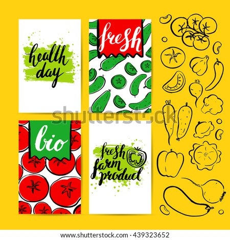 Vector card with farm vegetables. Brush hand drawn illustration and inscriptions. Healthy vegetarian food. Natural product. Tomato, cucumber. Health Day. Organic. Logo. Lettering. - stock vector