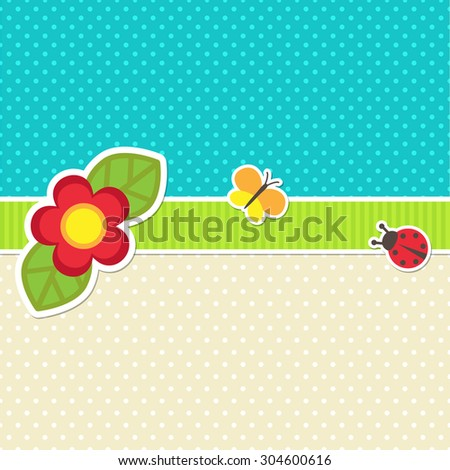 Vector card with flower, butterfly and ladybug - stock vector