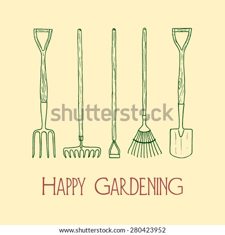 Vector card with hand drawn garden tools - fork, spade, hoe, rake and lawn rake. Beautiful design elements. - stock vector