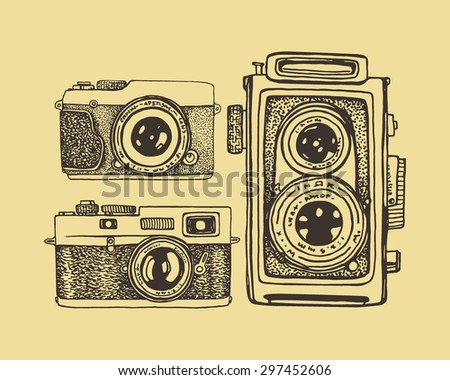 Vector card with hand drawn vintage cameras. Beautiful design elements. - stock vector