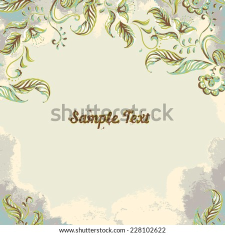 Vector Card with hand-drawn watercolor flowers - stock vector