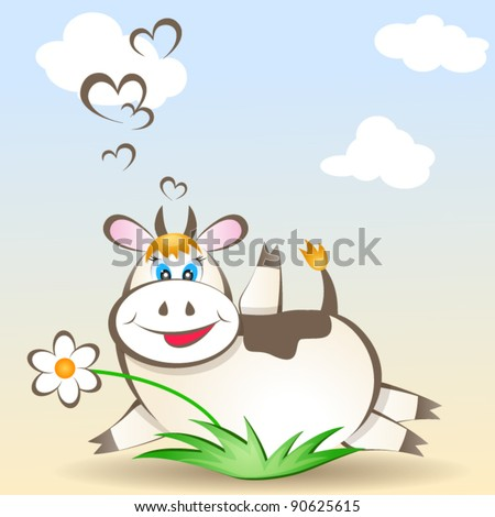 Vector card with happy cow - stock vector
