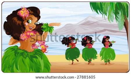 Vector card with Hula-dancers in Hawaii - stock vector
