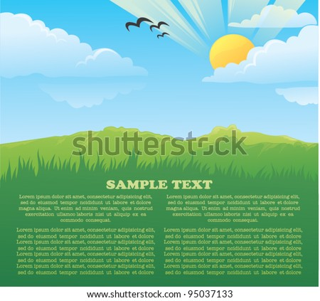 vector card with image of beautiful summer landscape - stock vector