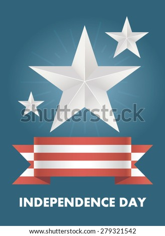 Vector card with Independence Day of America. Illustrations on the theme of freedom and independence. Banner July 4th holiday. Bright blue background with red and white ribbon. Silver Stars - stock vector