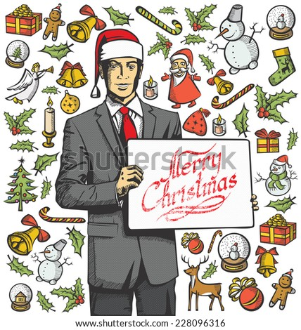 Vector Card with Man, and Christmas, and New Year elements - stock vector