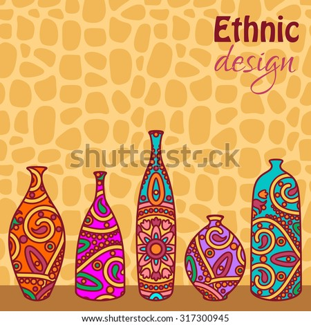 Vector Card Ornamental African Vases Stock Vector Royalty Free