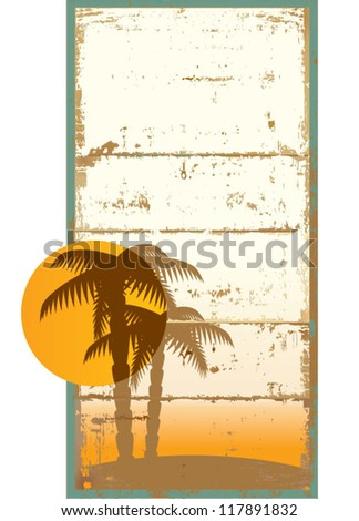 Vector card with palm trees and tropical sun in vintage style