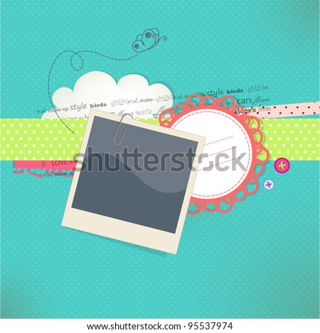 Vector card with place for photo and text - stock vector