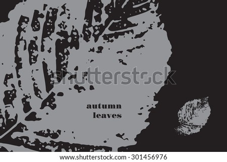 Vector card with print of autumn leaves