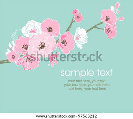 vector card with stylized cherry blossom and text - stock vector