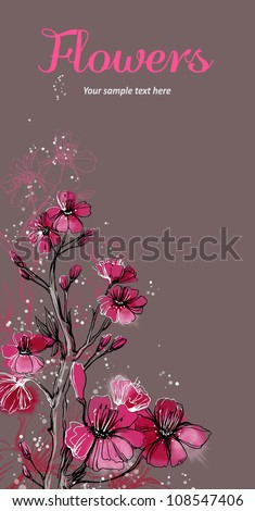 Vector card with stylized flowers. Cherry tree - stock vector