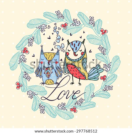 vector card with two cute owls and an abstract floral wreath - stock vector