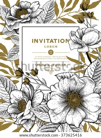 Vector Card with Vintage Victorian Graphic Floral Composition. Blank for Greeting Postcard, Wedding Invitation or Any Design. EPS 8.