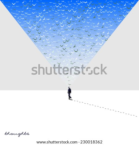 Vector card with walking man on a white winter background, bright colorful multicolor thoughts in a form of birds on the sky - stock vector