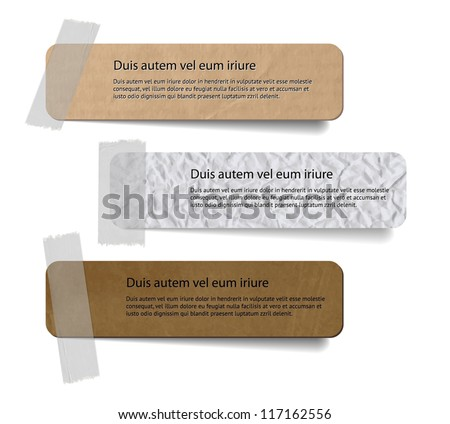 Vector cardboard and crumpled paper labels attached with a sticky tape - stock vector