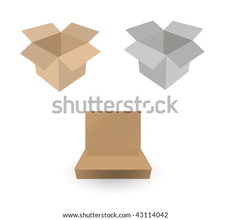 vector cardboard box on white - stock vector