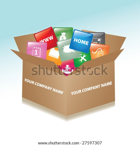 Vector cardboard box whit web buttons / promotional box - stock vector